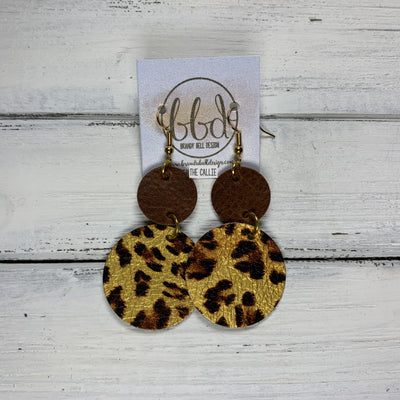 CALLIE -  Leather Earrings  ||  <BR> MATTE DISTRESSED BROWN, <BR> METALLIC CHEETAH PRINT