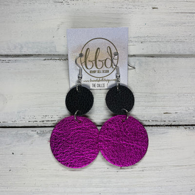 CALLIE -  Leather Earrings  ||  <BR> MATTE BLACK, <BR> METALLIC NEON PINK PEBBLED
