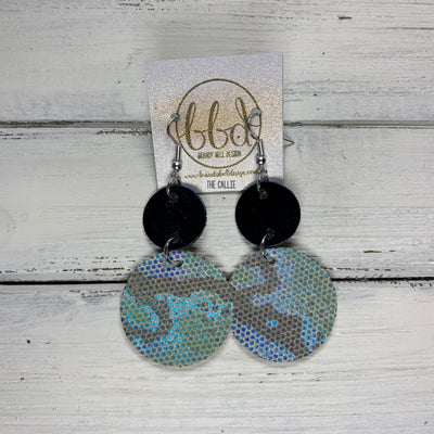 CALLIE -  Leather Earrings  ||  <BR> METALLIC NAVY SMOOTH, <BR> METALLIC BLUE/GREEN SNAKE PRINT