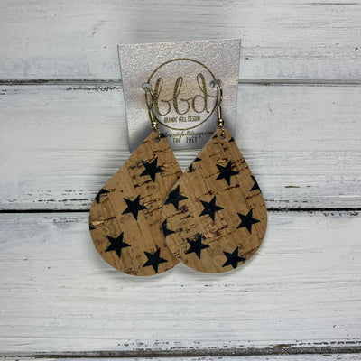 ZOEY (3 sizes available!) -  Leather Earrings  ||  *LIMITED EDITION* CORK - BLACK STARS ON NATURAL