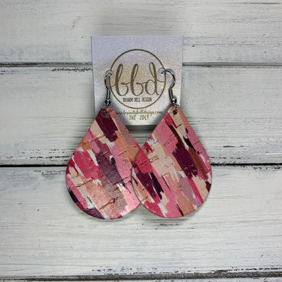 ZOEY (3 sizes available!) -  Leather Earrings  ||  *LIMITED EDITION* CORK - SHADES OF PINK BRUSH STROKES