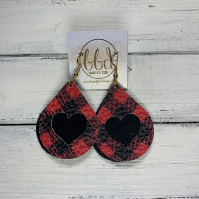ZOEY -  <BR>  *LIMITED EDITION* CUT-OUT Earrings    ||  BLACK & RED BUFFALO PLAID (FAUX LEATHER), SHIMMER BLACK