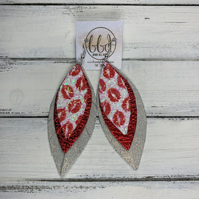 INDIA - Leather Earrings   ||  <BR>  LIPS GLITTER (FAUX LEATHER),  <BR> METALLIC RED PEBBLED, <BR> SHIMMER ROSE GOLD