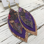 GINGER - Leather Earrings  ||  PURPLE FLORAL ON BROWN, MATTE PURPLE, METALLIC ROSE GOLD WESTERN FLORAL