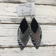 DOROTHY - Leather Earrings  || SHIMMER BLACK, METALLIC SILVER, BLACK & SILVER WESTERN FLORAL