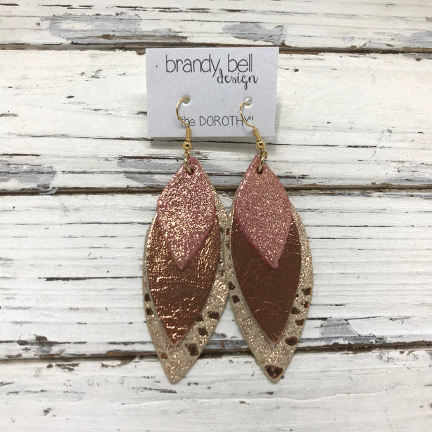DOROTHY - Leather Earrings  || SHIMMER VINTAGE PINK, METALLIC COPPER, METALLIC COPPER MYSTIC
