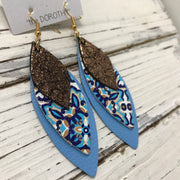 DOROTHY - Leather Earrings  || SHIMMER COPPER ON BLACK, MOROCCAN TILE, MATTE CAROLINA BLUE