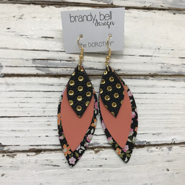 DOROTHY - Leather Earrings  || BLACK WITH METALLIC GOLD POLKADOTS, MATTE SALMON, MINI FLORAL ON BLACK