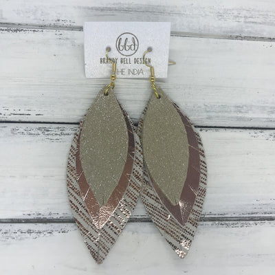 INDIA - Leather Earrings   ||  <BR>  SHIMMER CHAMPAGNE  <BR> METALLIC ROSE GOLD SMOOTH <BR> ROSE GOLD SANDS