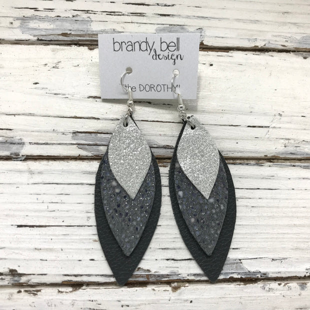 DOROTHY - Leather Earrings  || SHIMMER SILVER, GRAY STINGRAY, MATTE DARK GRAY