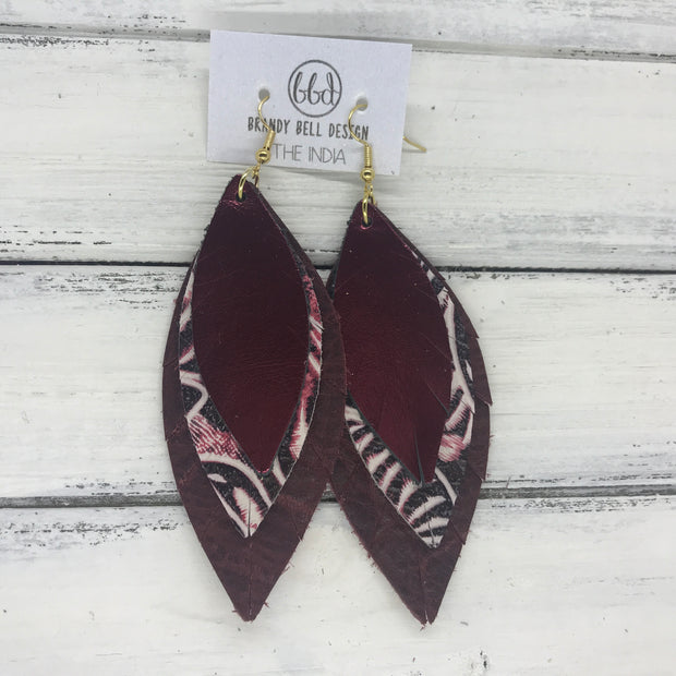 INDIA - Leather Earrings   ||  <BR>  METALLIC CRANBERRY SMOOTH,  <BR> BURGUNDY WESTERN FLORAL, <BR> DISTRESSED MERLOT