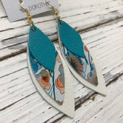 DOROTHY - Leather Earrings  || MATTE TEAL, ORANGE & TEAL WATRECOLOR FLORAL, PEARL