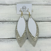 INDIA - Leather Earrings   ||  <BR>  MATTE WHITE,  <BR> METALLIC CHAMPAGNE PANAMA WEAVE, <BR> SHIMMER ROSE GOLD
