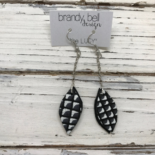 LUCY -  Leather Earrings  ||    DOUBLE SIDED- BLACK & WHITE MERMAID / SHIMMER BLACK