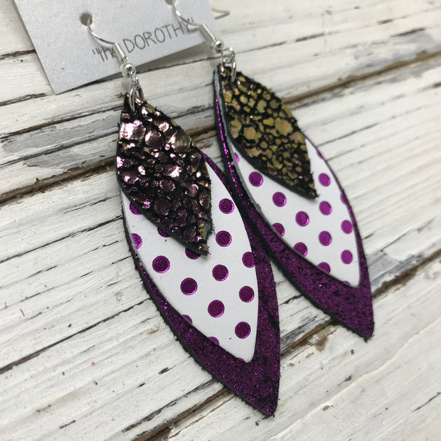 DOROTHY - Leather Earrings  || METALLIC IRRIDESCENT GREEN & PURPLE DRIPS, WHITE WITH METALLIC PURPLE POLKADOTS, SHIMMER FUCHSIA