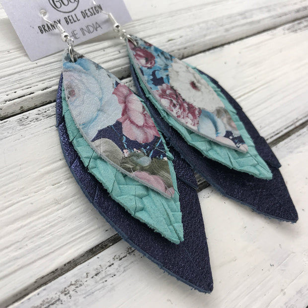 INDIA - Leather Earrings   ||  <BR>  VINTAGE FLORAL,  <BR> AQUA BRAIDED WEAVE, <BR> METALLIC NAVY PEBBLED