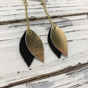 LUCY -  Leather Earrings  ||    DOUBLE SIDED- BLACK/GOLD MERMAID / METALLIC GOLD