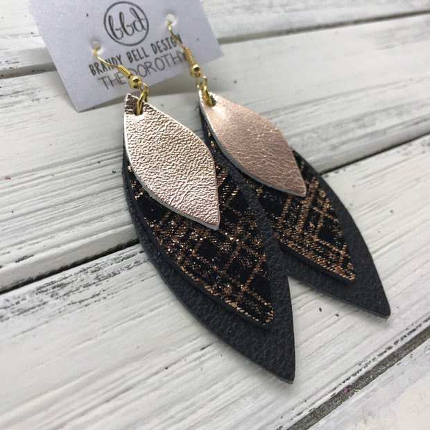 DOROTHY - Leather Earrings  ||  <BR> METALLIC ROSE GOLD SMOOTH,  <BR> ROSE GOLD PLAID ON BLACK,  <BR> MATTE BLACK