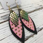 DOROTHY - Leather Earrings  || METALLIC MERMAID PINK/GREEN/GOLD, PINK WITH METALLIC GOLD POLKADOTS, MATTE BLACK