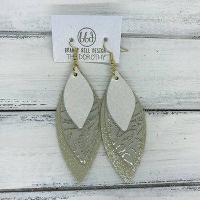 DOROTHY - Leather Earrings  ||  <BR> PEARL WHITE,  <BR> METALLIC CHAMPAGNE WESTERN FLORAL,  <BR> SHIMMER GOLD