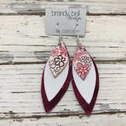 DOROTHY - Leather Earrings  || PINK FLORAL, MATTE WHITE, METALLIC PINK