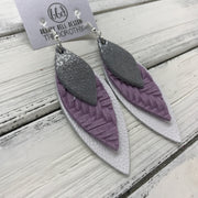 DOROTHY - Leather Earrings  ||  <BR> SHIMMER GRAY,  <BR> LILAC BRAIDED WEAVE,  <BR> MATTE WHITE