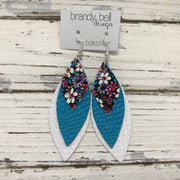 DOROTHY - Leather Earrings  || MINI PURPLE & PINK FLORAL, PEARLIZED TURQUOISE COBRA, MATTE WHITE COBRA