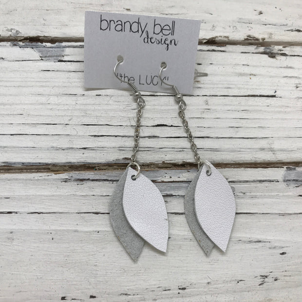LUCY -  Leather Earrings  ||   DOUBLE SIDED- SHIMMER SILVER / MATTE WHITE