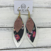 DOROTHY - Leather Earrings  ||  <BR> SHIMMER VINTAGE PINK,  <BR> PINK FLORAL ON BLACK,  <BR> PEARL WHITE