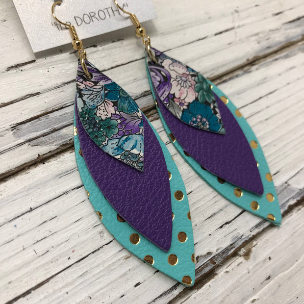 DOROTHY - Leather Earrings  || MINI PURPLE & TEAL FLORAL, MATTE PURPLE, AQUA WITH METALLIC GOLD POLKADOTS