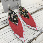 DOROTHY - Leather Earrings  || MINI FLORAL ON BLACK, MATTE CORAL/PINK, WHITE WITH PINK POLKADOTS