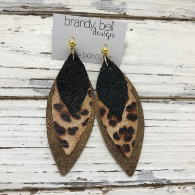 DOROTHY - Leather Earrings  || SHIMMER BLACK, CHEETAH PRINT, METALLIC BROWN WITH GOLD ACCENTS