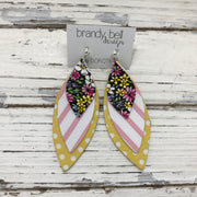 DOROTHY - Leather Earrings  || MINI PINK/YELLOW FLORAL, WHITE & PINK STRIPE, YELLOW WITH WHITE POLKADOTS