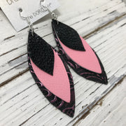 DOROTHY - Leather Earrings  || BLACK WITH GLOSS DOTS, MATTE PINK, EMBOSSED PINK ON BLACK FLORAL