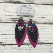 DOROTHY - Leather Earrings  ||  PURPLE & PINK MINI FLORAL, MATTE BLACK, SMOOTH RASPBERRY