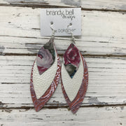DOROTHY - Leather Earrings  ||  VINTAGE FLORAL, WHITE PEARL, METALLIC PINK ON CORAL WESTERN FLORAL