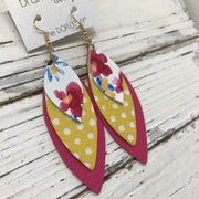 DOROTHY - Leather Earrings  ||  FLORAL ON WHITE, YELLOW WITH WHOITE POLKADOTS, MATTE PINK