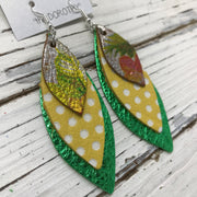 DOROTHY - Leather Earrings  ||  METALLIC FLORAL, YELLOW WITH WHITE POLKADOTS, METALLIC BRIGHT GREEN PEBBLED