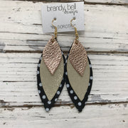 DOROTHY - Leather Earrings  ||  METALLIC ROSE GOLD PEBBLED, SHIMMER GOLD, BLACK WITH WHITE POLKADOTS