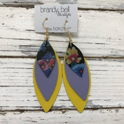 DOROTHY - Leather Earrings  ||  MULTI COLOR FLORAL ON BLACK, MATTE SMOOTH LAVENDER, MATTE BRIGHT YELLOW