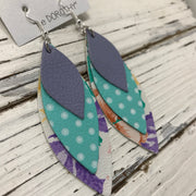 DOROTHY - Leather Earrings  ||  MATTE LAVENDER, AQUA WITH WHITE POLKADOTS, FLORAL ON WHITE