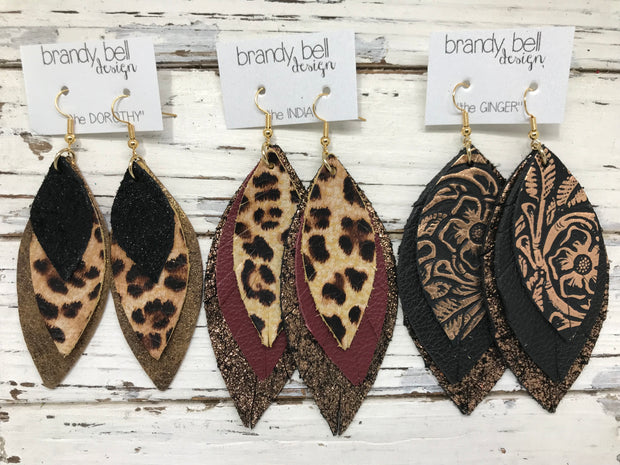 DOROTHY - Leather Earrings  ||  <BR> MARDI GRAS GLITTER (FAUX LEATHER),  <BR> SHIMMER FUCHSIA, <BR> METALLIC GOLD PEBBLED