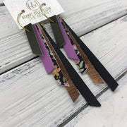 AUDREY - Leather Earrings  ||  OLIVE GREEN, MATTE MAUVE, MINI FLORAL ON BLACK, METALLIC COPPER, MATTE BLACK