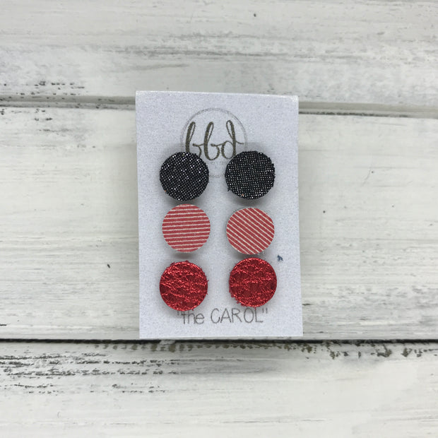 CAROL (3/PACK) - Leather Stud Earrings   ||  SHIMMER PEWTER, <BR> RED & WHITE STRIPES, <BR> METALLIC RED PEBBLED