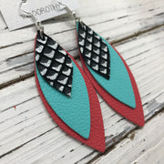 DOROTHY - Leather Earrings  ||  BLACK & WHITE MERMAID, MATTE ROBINS EGG BLUE, MATTE CORAL/PINK