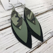 DOROTHY - Leather Earrings  ||  GREEN CAMO, MATTE AVOCADO GREEN, SHIMMER BLACK