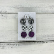 CAROL (3/PACK) - Leather Stud Earrings   ||  METALLIC CRACKLE SILVER, HOUNDSTOOTH, SHIMMER FUCHSIA