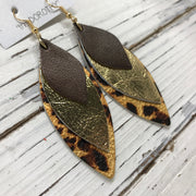 DOROTHY - Leather Earrings  ||  PERAL BROWN, METALLIC GOLD, METALLIC CHEETAH