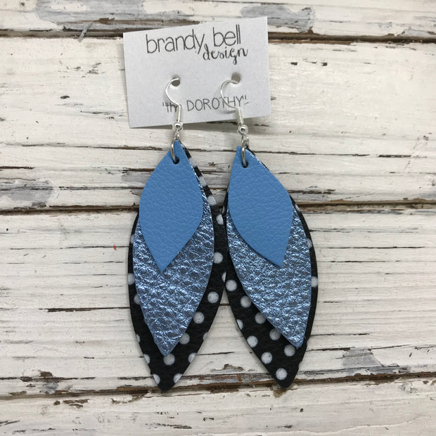 DOROTHY - Leather Earrings  ||  MATTE CAROLINA BLUE, METALLIC LIGHT BLUE PEBBLED, BLACK WITH WHITE POLKADOT
