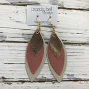 DOROTHY - Leather Earrings  ||  METALLIC SMOOTH ROSE GOLD, SHIMMER VINTAGE PINK, CHAMPAGNE PEARL